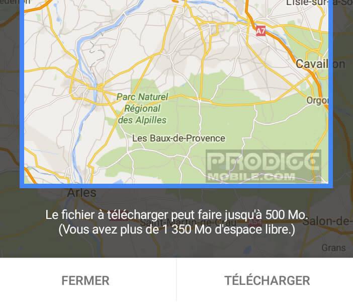 Google Maps indique le poids de la carte à télécharger