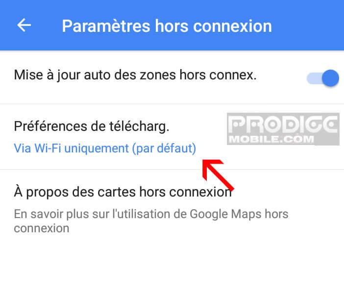 Modifier les préférences de téléchargement des cartes dans Google Maps