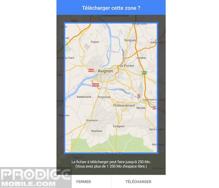 Définir la zone de la carte à télécharger sur son smartphone
