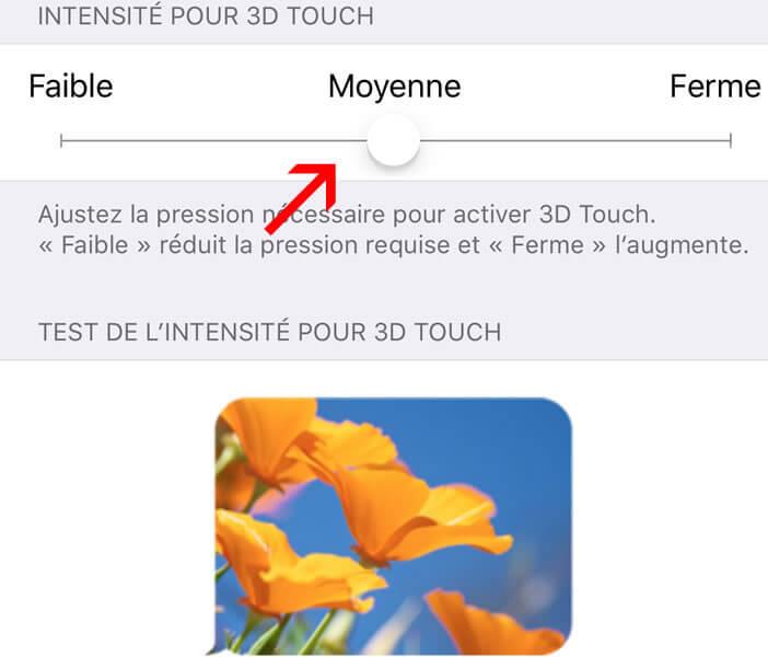 Définir le niveau de sensibilité 3D Touch