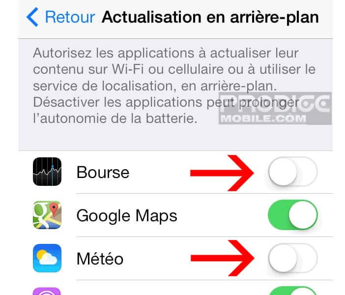 Bloquer l'actualisation en arrière plan d'une appli iPhone