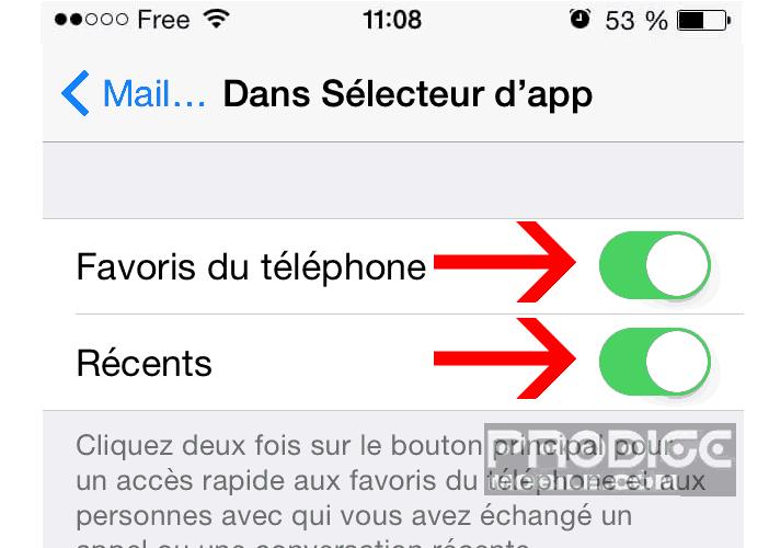 Bloquer l'affichage des contacts favoris et récent dans le sélecteur d'applis