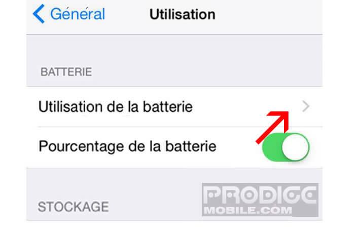 Paramètres d'utilisation de la batterie de l'iPhone
