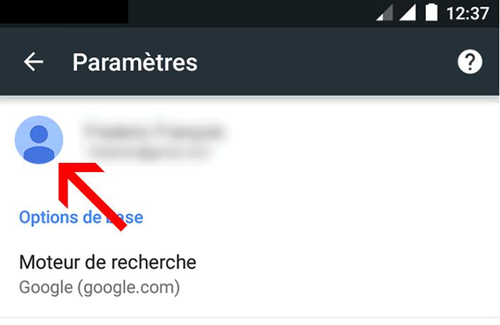 Connexion compte Google sur un mobile Android