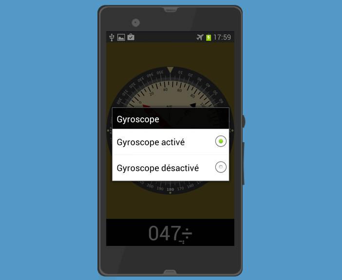 Désactiver la fonction gyroscope d'un mobile Android