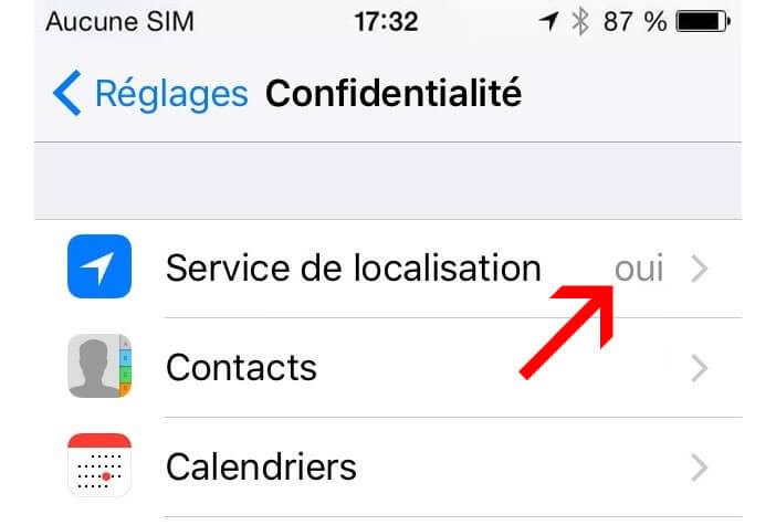 Activer l'option de localisation pour les rappels sur iOs