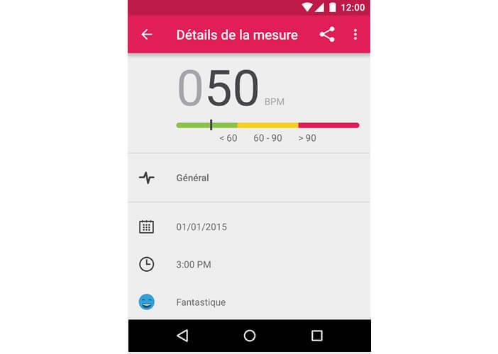 Données de la mesure cardiaque avec un mobile Android