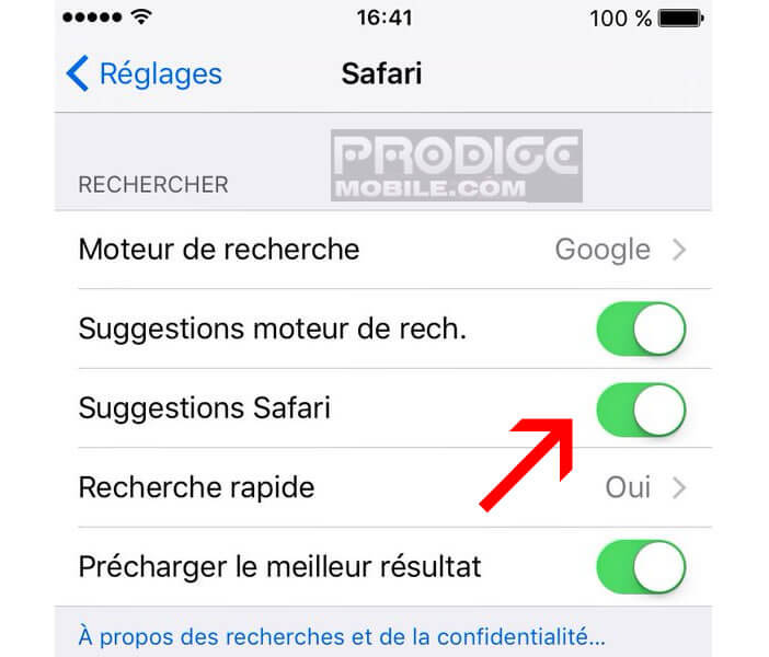 Désactiver l'option de suggestion de Safari sur l'iPhone et iPad