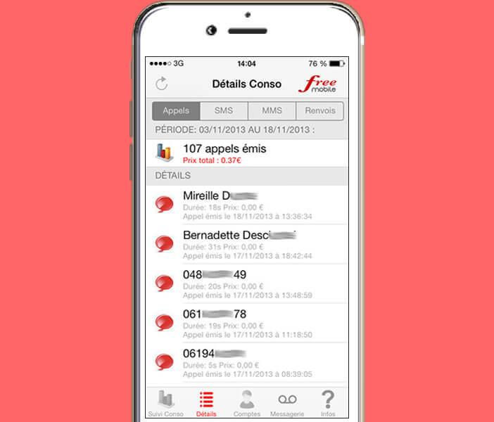 Les détails de votre consommation mobile sur Free