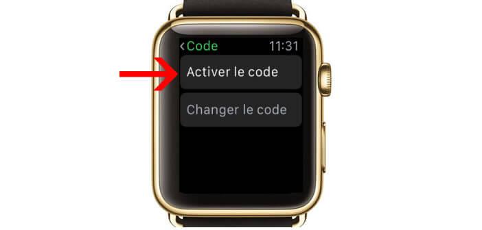 Sélectionner un mot de passe pour l'Apple Watch