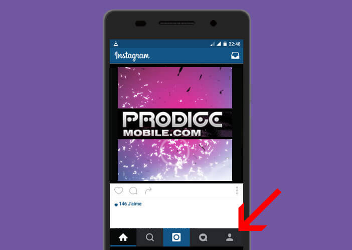 Ouvrir la page profil sur l'application Instagram
