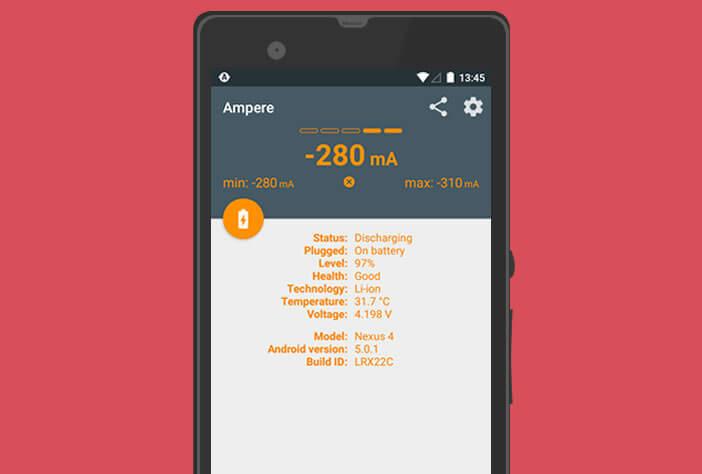 L'application Ampere pour tester le chargeur de votre Android