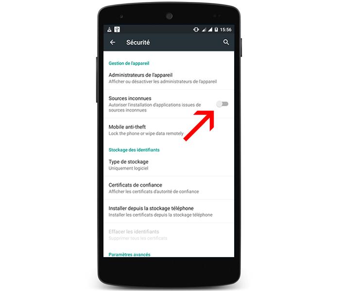 Activer l'option Sources inconnues sur votre mobile Android