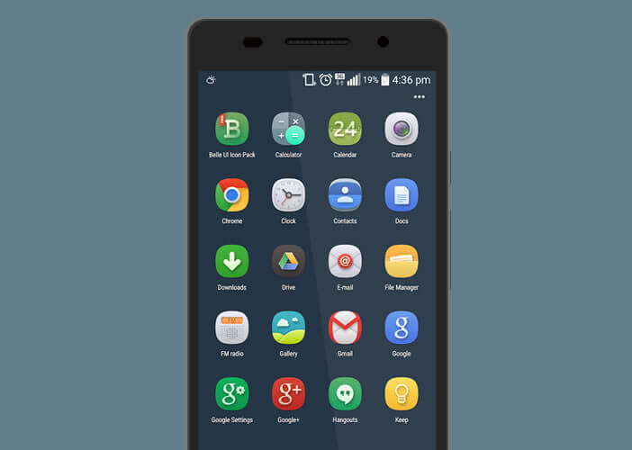Belle UI icône pack pour smartphone Android