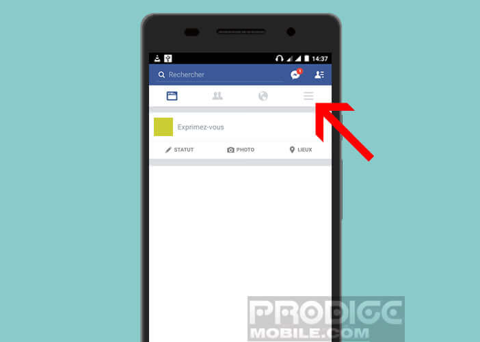 Sélectionner le bouton Menu de l'appli Facebook