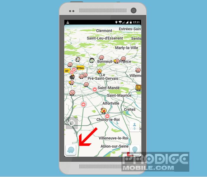 Accéder au bouton Menu sur l'interface de Waze