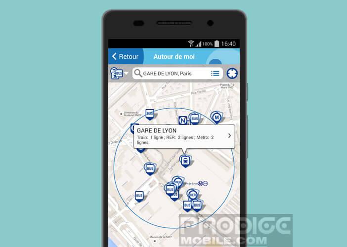 Localiser sur une carte les stations de bus, de trains et de métro autour de vous