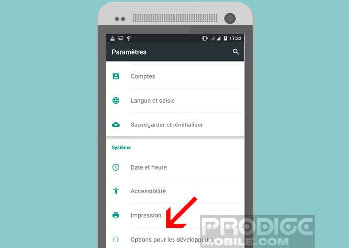 Accéder au menu caché d'Android pour activer le mode pour les gauchers