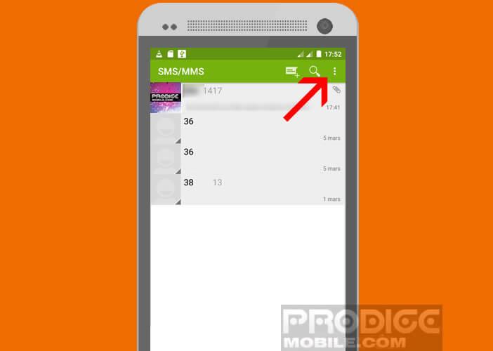 Ouvrir les paramètres de l'application gérant les SMS