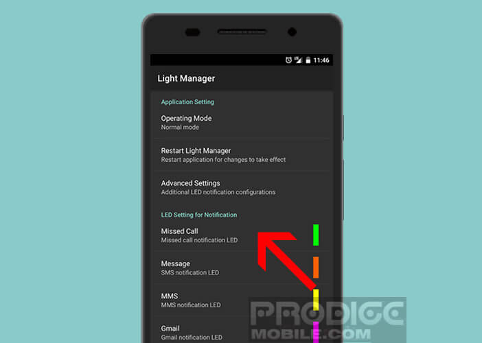 Paramétrer l'application Light Manager - led