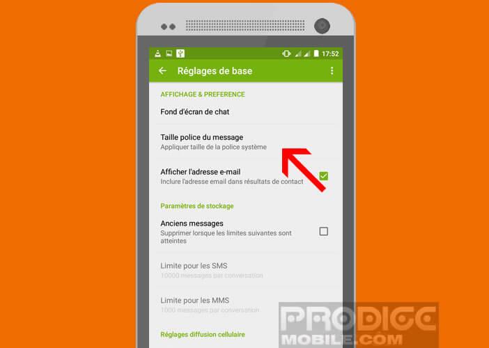 Modifier la police d'écriture de l'application SMS d'Android