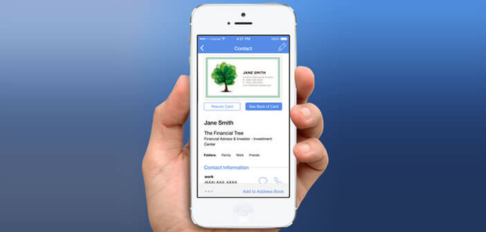 Un scanner de cartes de visite pour l'iPhone