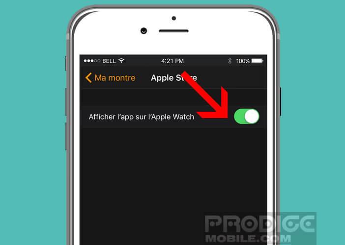 Sélectionner le bouton Afficher sur l'Apple Watch pour effacer une appli