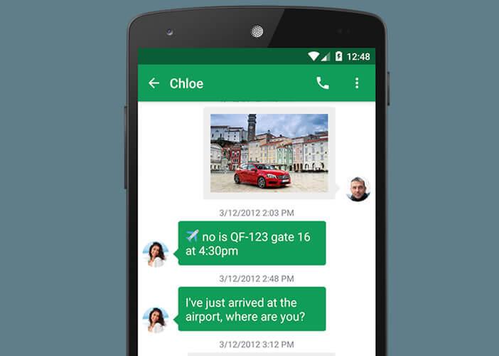 Chomp SMS gère les conversations avec deux cartes SIM différentes