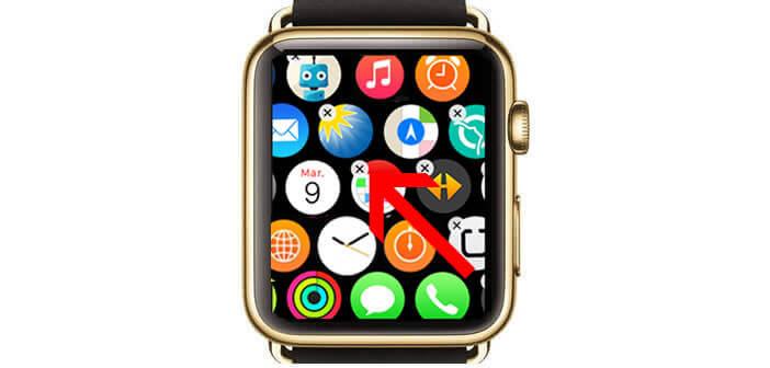 Désinstaller une application sur la Watch en cliquant sur la petite croix