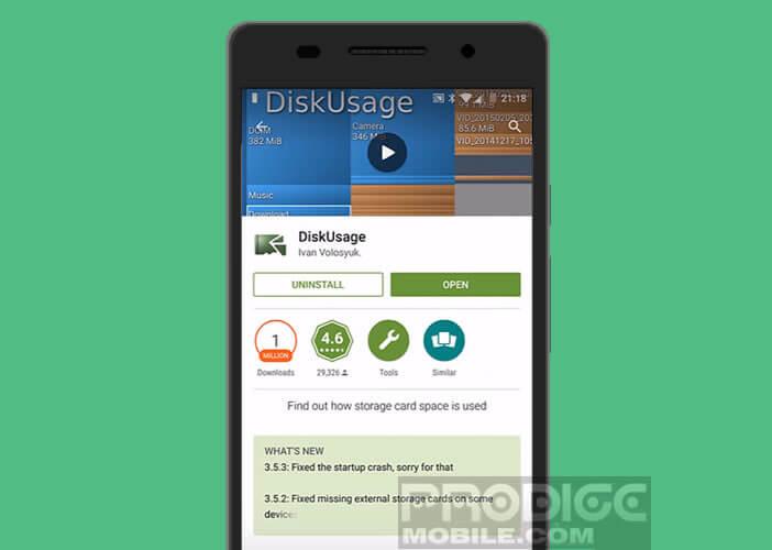 DiskUsage: application de nettoyage pour Android