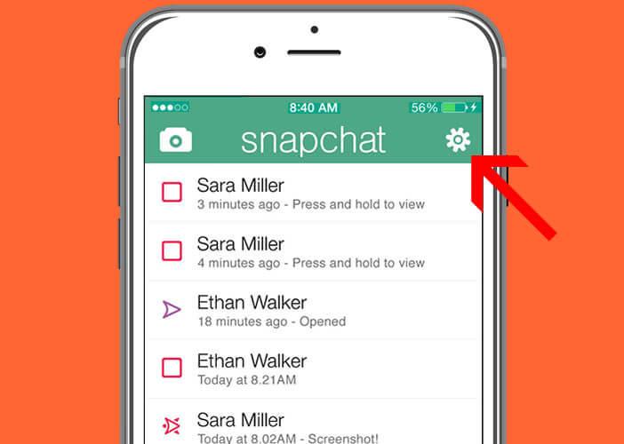 Ouvrir les paramètres de l'application Snapchat