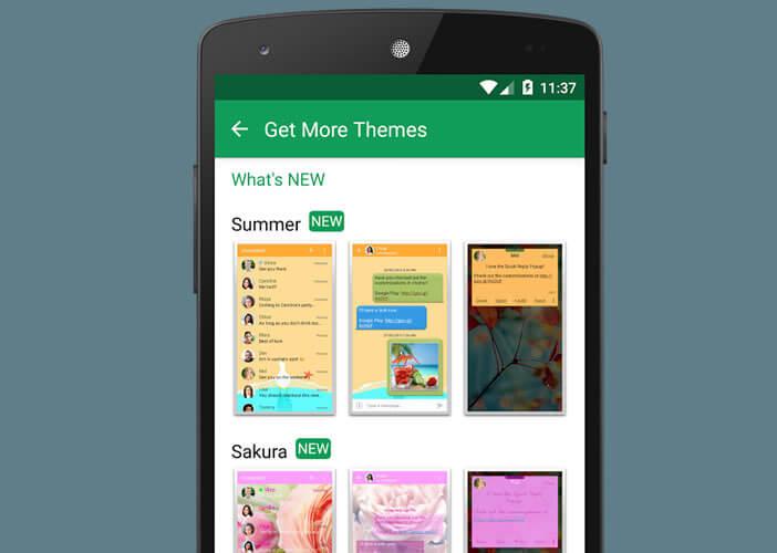 Thèmes pour personnaliser l'interface de Chomp SMS