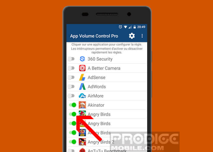 Sélectionnez une application dans App Volume Control