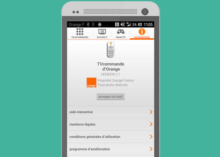 Application Android gratuite pour le service télé d'Orange