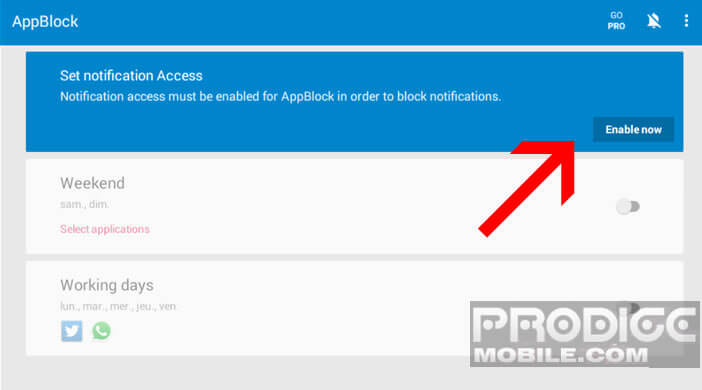 Autoriser l'accès à vos notifications par l'application AppBlock
