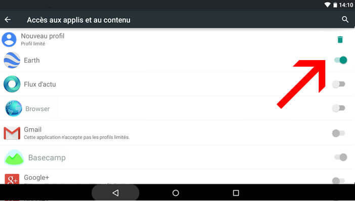 comment activer le controle parental tablette android