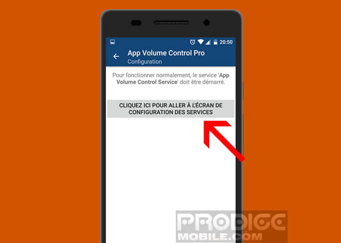 Activer l'option App Volume Control Service
