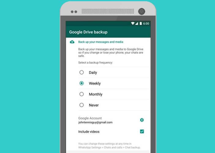 Définir la fréquence des sauvegardes sur l'appli WhatsApp