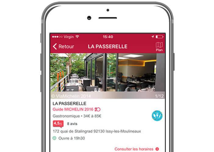 La fiche descriptive de chaque restaurant regroupe des infos pratiques