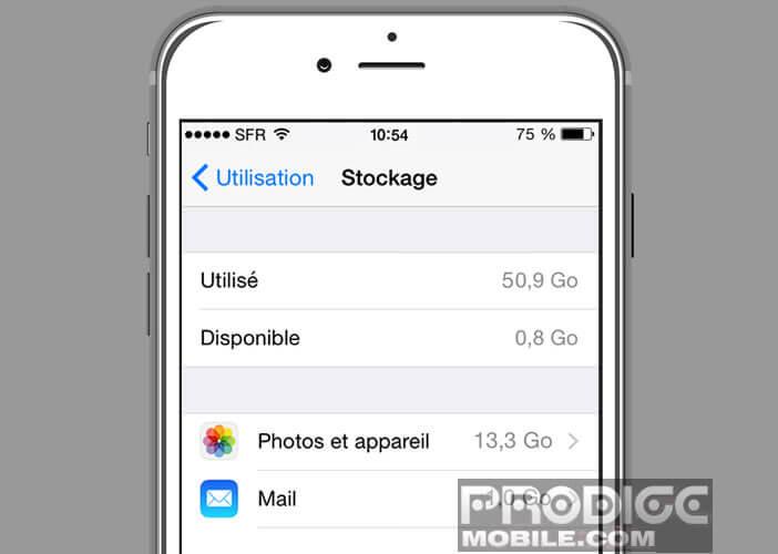 Gérer la mémoire de stockage d'un iPhone