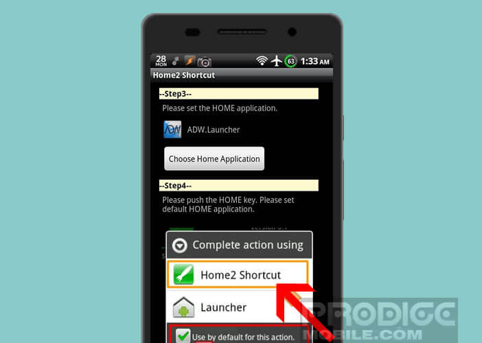 Définir Home2 Shortcut comme launcher