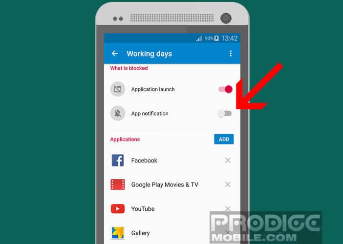 Activer l'option App notification pour bloquer les messages d'alerte