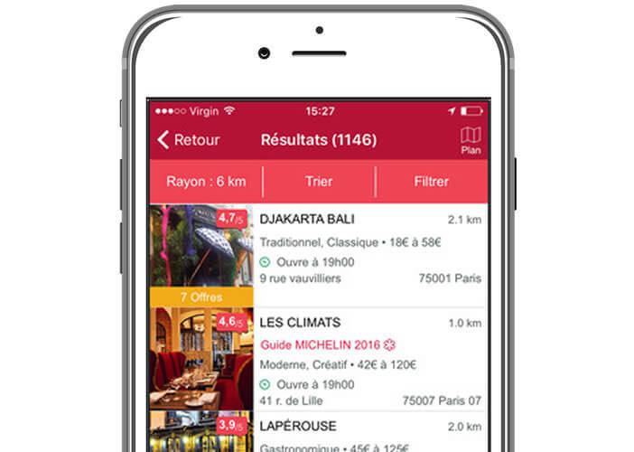 Application Michelin Restaurants pour iPhone
