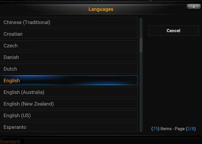 Modifier la langue de l'interface du lecteur vidéo Kodi