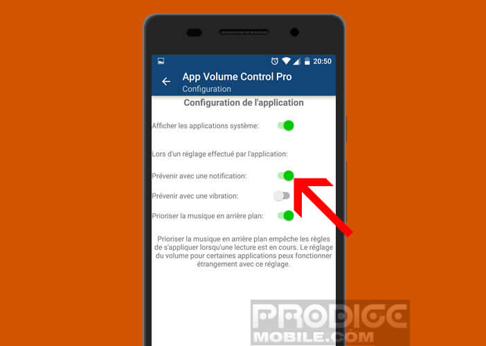 Désactiver la notification de modification du son sur App Volume Control