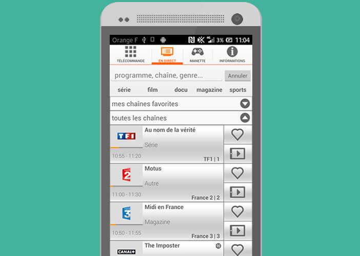 Piloter le décodeur TV de la Livebox d'Orange depuis Android