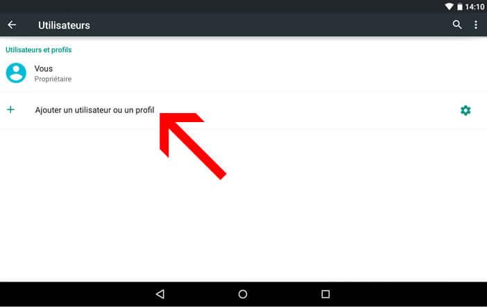 Créer un profil limité sur une tablette