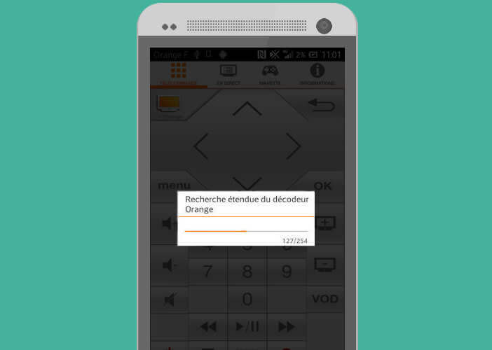L'application va rechercher le décodeur TV d'Orange
