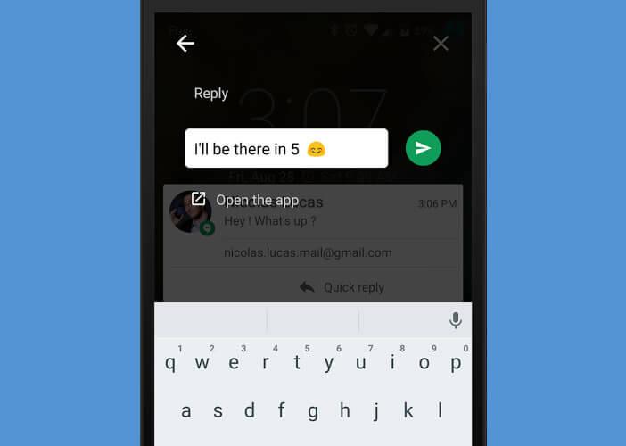 Répondre à la notification SMS directement depuis la fenêtre pop-up
