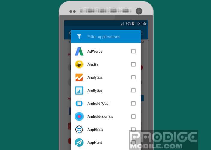 Sélectionnez les applications dont vous voulez bloquer le service de notification